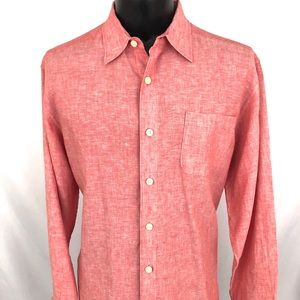 Tommy Bahama Relax Button Up Shirt Linen Pink L